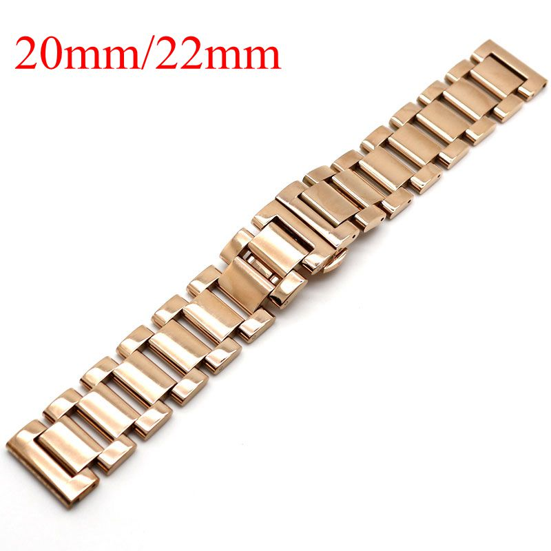 20/22mm Solid Link 2 Spring Bars Watchband Strap for Wrist Watch Bracelet Push Button Men Stainless Steel Butterfly Buckle Strap