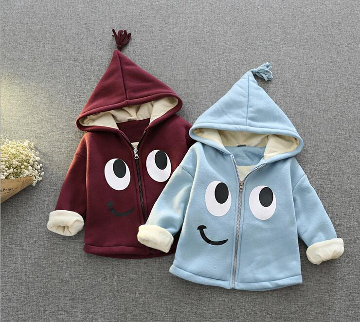 2016 new fashion boy and girl cartoon patterns plus velvet hooded jacket + free gift
