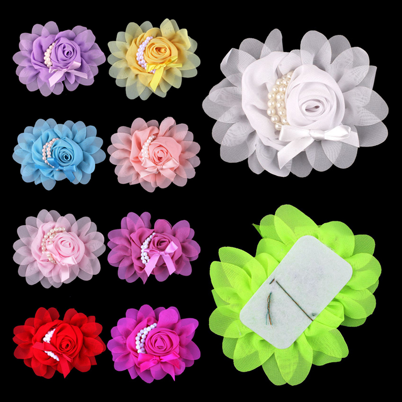 50pcs/lot 14colors Artificial Goldfish Bowknot Chiffon Rolled Rosette Flower With Pearls Solid Fabric Flowers For Kids Headbands