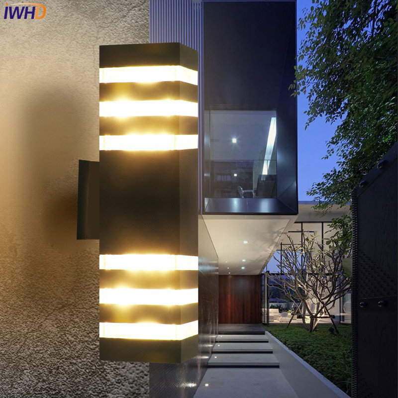 IWHD Modern Outdoor Wall Light Gate Blacony Yard Garden Porch Lights  Outdoor Lighting Wall Lamps Waterproof IP65 Buitenlamp