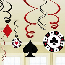 9pcs/set Foil Casino Hanging Dangling Swirl Decorations Playing Card Swirls Poker Decor Alice in Wonderland Tea Party