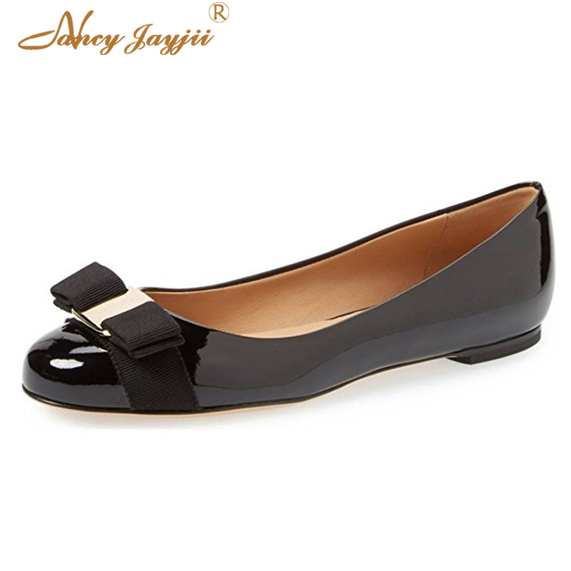 Poly Urethane Woman Ballet Flats Shoes Female Cute Sweet Black Nude Blue Bows Round -4608