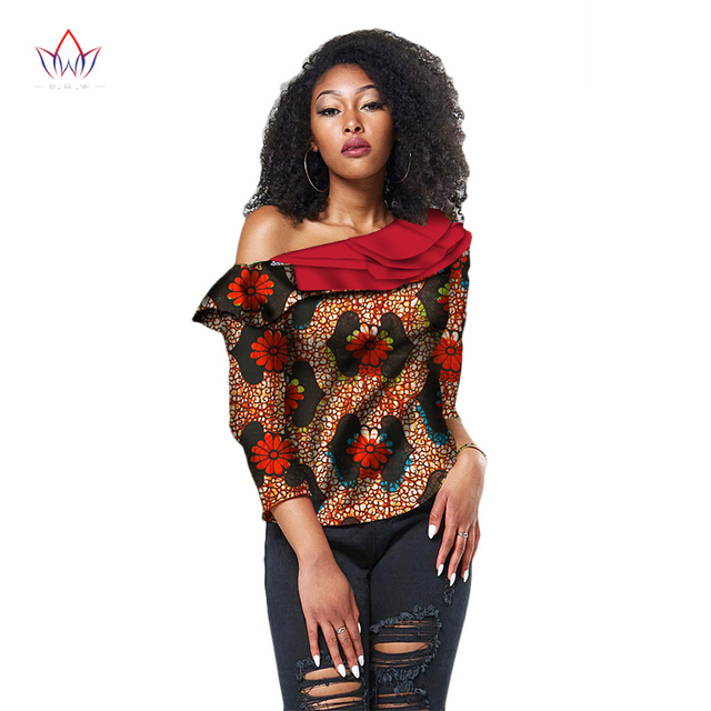 51ec52bb736 2018 Autumn African Print Shirt for Women Dashiki Three quarters sleeve  length Africa Clothing Plus Size Top for Lady WY2016