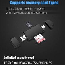 범용 3 in 1 usb 2.0 마이크로 usb 유형 c otg 카드 판독기 마이크로 sd tf 카드 판독기 전화 컴퓨터 태블릿 용 외부 어댑터