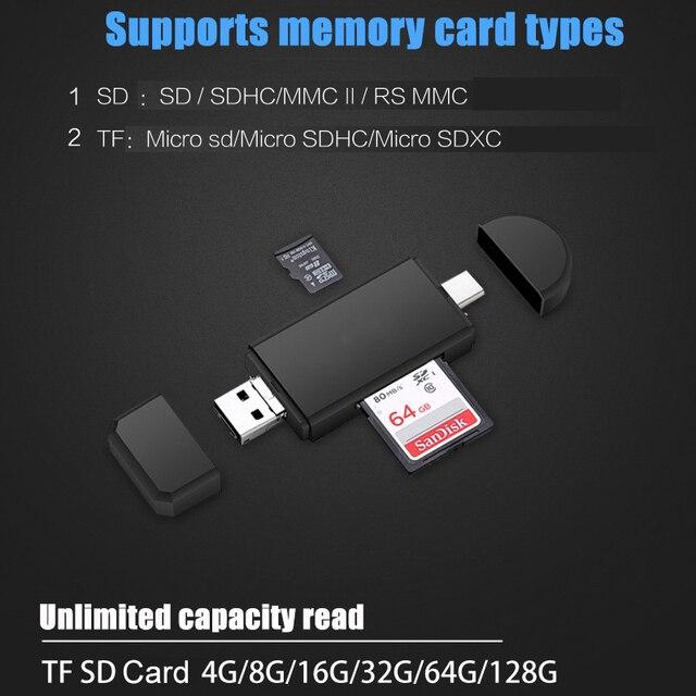 Evrensel 3 in 1 USB 2.0 mikro USB tip c OTG kart okuyucu s mikro SD TF kart okuyucu harici adaptörleri telefon bilgisayar Tablet