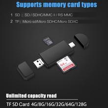 Universal 3 en 1 USB 2,0 micro usb tipo c OTG lectores de tarjetas Micro SD lector de tarjetas TF adaptadores externos para teléfono computadora tableta