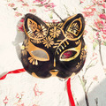 Japanese Style Upper Half Face Hand-Painted Fox Masks Kitsune Cosplay Masquerade Black for Noh Party Halloween Carnival
