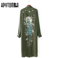 Vintage Chic Peacock Flower Embroidery Long Shirts 2018 New Fashion Europe Style Long Sleeve Rayon Blouse