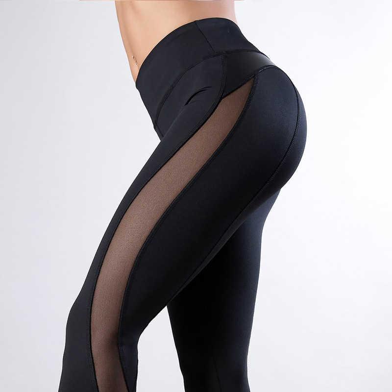 Sexy kobiety siłownia Fitness czarne legginsy sportowe do biegania oddychająca kompresja wysoka talia ćwiczenia siatki suche szybkie spodnie do joggingu