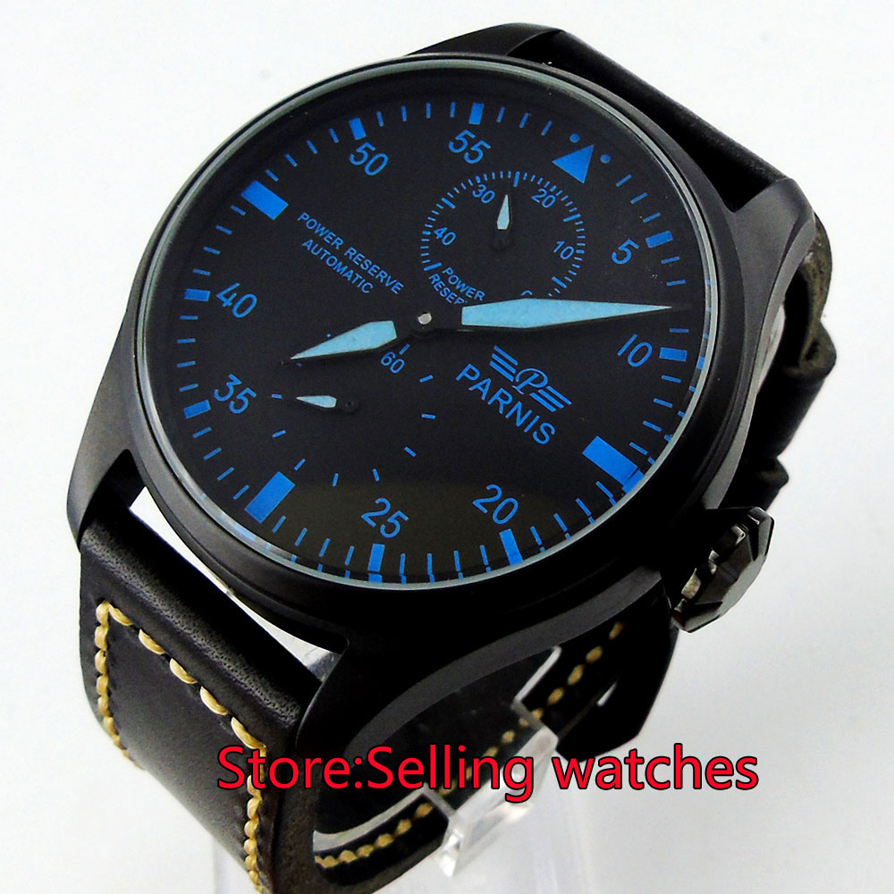 47mm parnis black dial blue marks PVD power reserve automatic mens watch hot sale 46mm parnis black dial power reserve white marks automatic men wrist watch