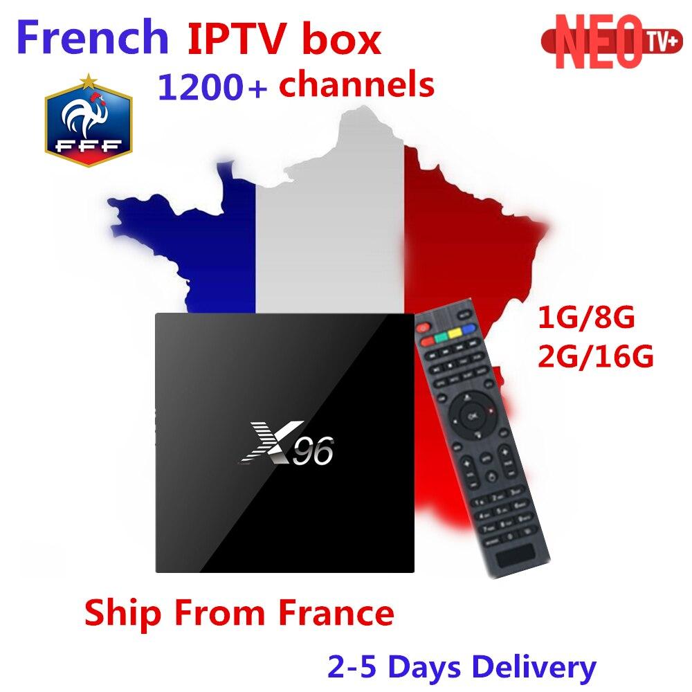 Árabe francés IPTV caja X96 2G16G Amlogic S905X android tv Box 1200 + canales VOD para Bélgica Francia Marruecos smart tv box set top