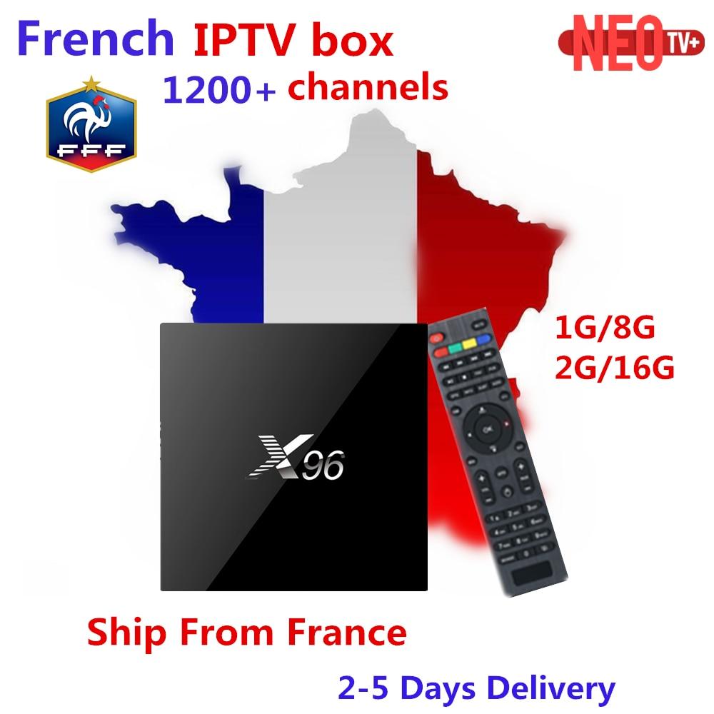 Arabo Francese IPTV Box X96 2G16G Amlogic S905X android tv box 1200 + canali e VOD Per Il Belgio Francia Marocco smart set top box tv