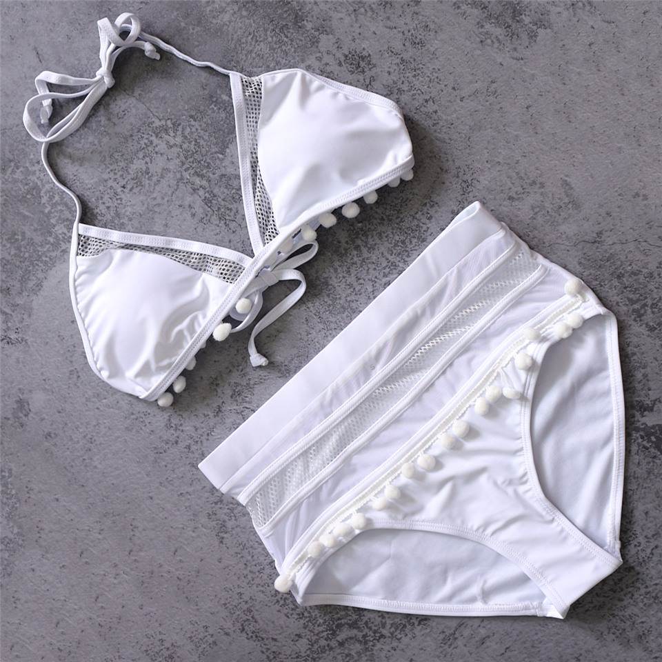 HTB1D3eEQMHqK1RjSZFgq6y7JXXag Sexy High Waist Bikini Women Halter Retro Mesh Hollow Out Swimwear Women Biquini Bathing Suit Female Swimsuit