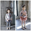 age 2-7 2015 baby Girl winter clothing long sleeve Plus thick velvet coat shirts children Floral dress style jacket