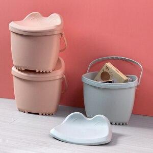 Taburete de plástico multifuncional banco de zapatos para el hogar caja de almacenamiento gruesa barril de baño para pies
