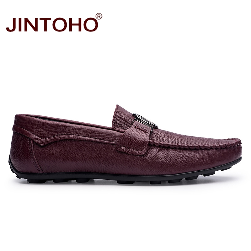 JINTOHO Brand Men Shoes Fashion Designer Men Leather Shoes Casual Male Shoes Slip On Mens Leather Loafers Men Moccasins-in Men's Casual Shoes from Shoes    2