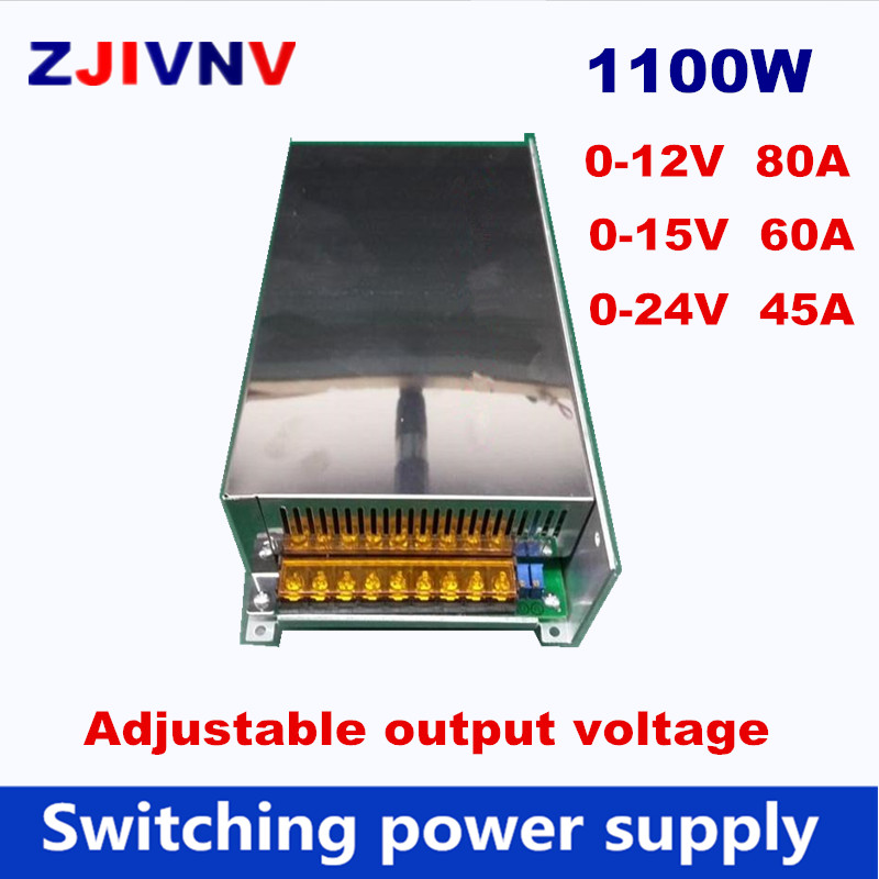 цена на 1200W Switching Power Supply output voltage adjustable 0-12V 80A, 0-15V 60A AC/DC big watt power supply 0-24V 45A, AC 110V 220V