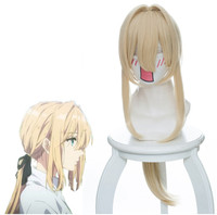 Anime Violet Evergarden golden long hair daily Cosplay Headdress for girls adults costume Violet Evergarden Kyoto Animation