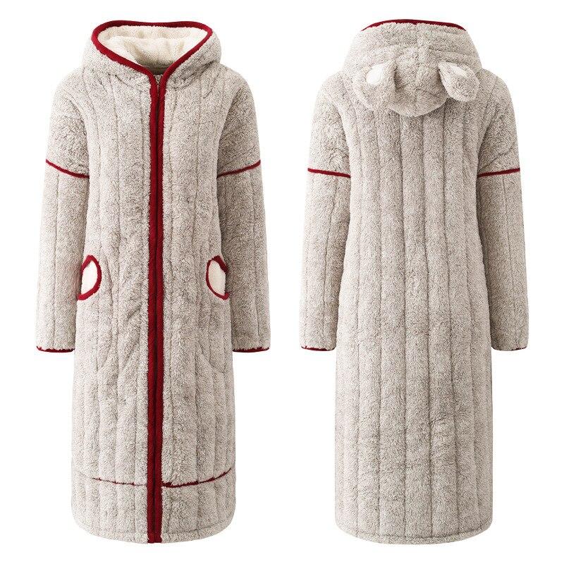 2019 New Flannel Women Winter Bathrobe Lovely Zipper Hooded Long Bath Robes Female Home Wear Thick