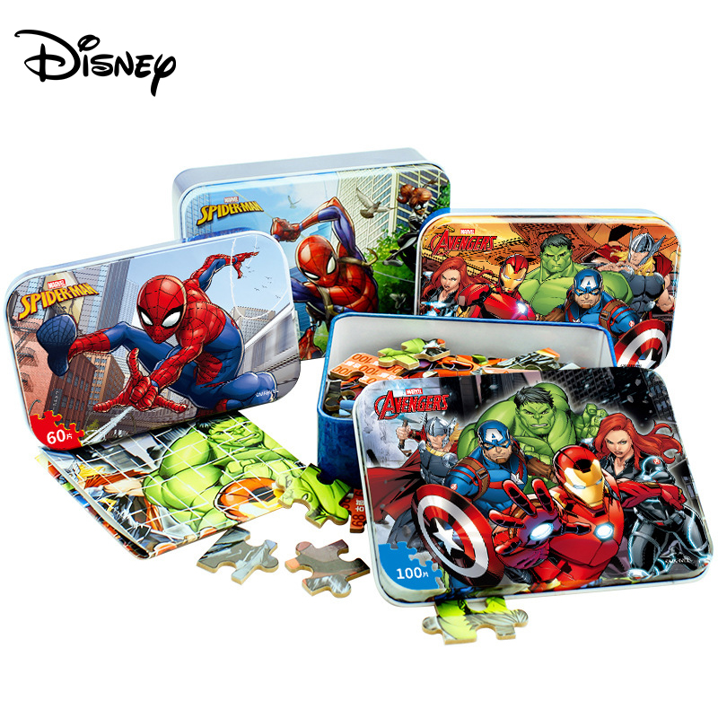 Disney Marvel Spider-Man Iron Box Jigsaw Puzzle 100 Piece MARVEL Avengers Wood Toy Puzzle