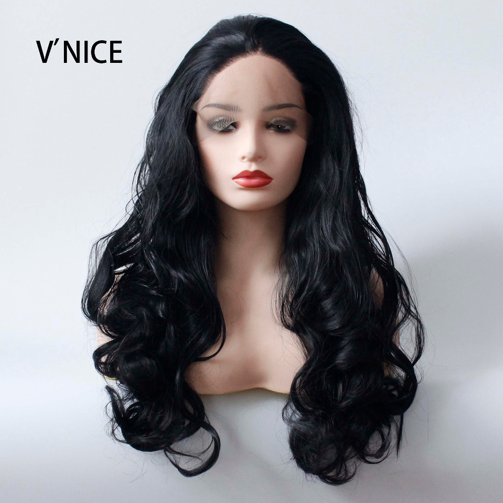 V'NICE Synthetic Lace Front Wig Glueless Body Wave Hand Tied Black Women's Long Natural Wigs Lace Front Heat Resistant Fiber