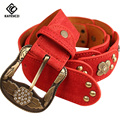 [KAITESICZI] Belt female all-match fashion rivet strap women's genuine leather strap Women  pin buckle belt 2017 new 100% cowhid