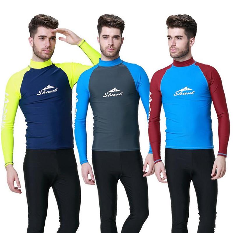 635862064a Sbart 1PC Swimming Shirt For Men Rash Gaurd T Shirts Long Sleeve Male  Sailing Surfing Suits