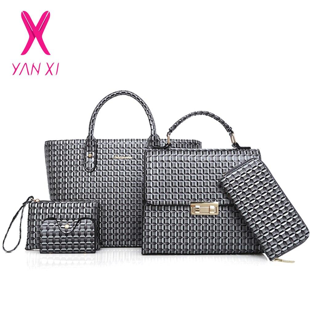 YANXI Business 3D femmes sacs à main de haute qualité en cuir PU femmes sacs à bandoulière 5 ensembles femmes Messenger sac Plaid dames fourre-tout