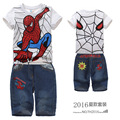 Retail 2016 New Children summer clothing set Boys Spiderman sport suit kids casual set short sleeve T-shirt and jeans, MS0004