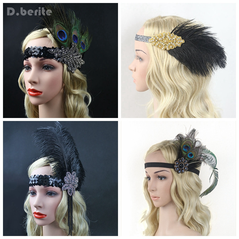 Hair Accessories Rhinestone Beaded Sequin Hair Band 1920s Vintage Gatsby Party Headpiece Women Feather Headband GPD8226 metting joura vintage bohemian ethnic tribal flower print stone handmade elastic headband hair band design hair accessories