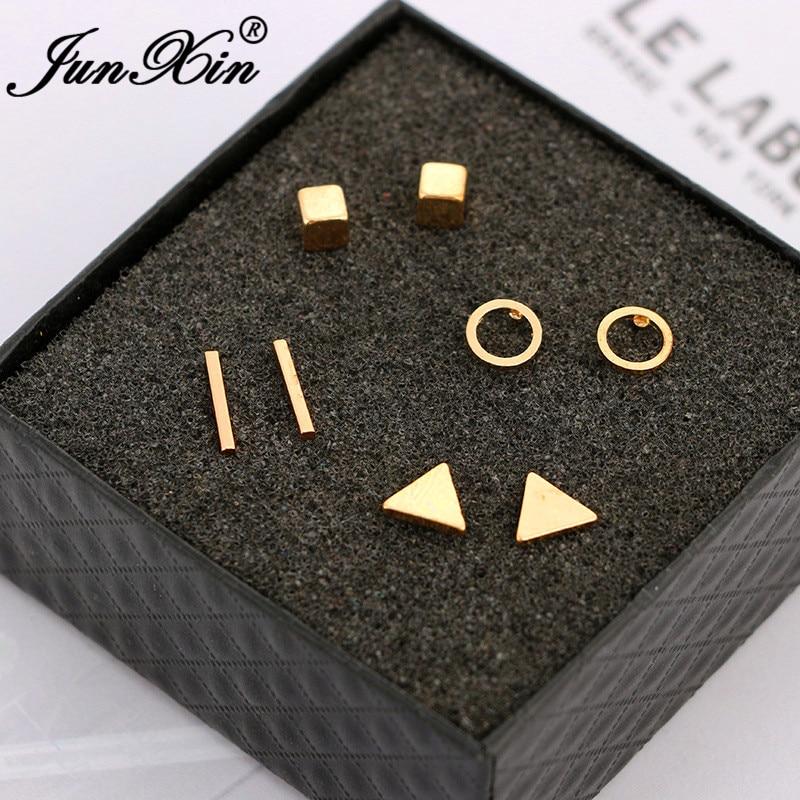 JUNXIN Geometry Small Bar Stud Earrings For Women Men White Gold Black Metal Triangle Square Earrings Set Female Male Studs