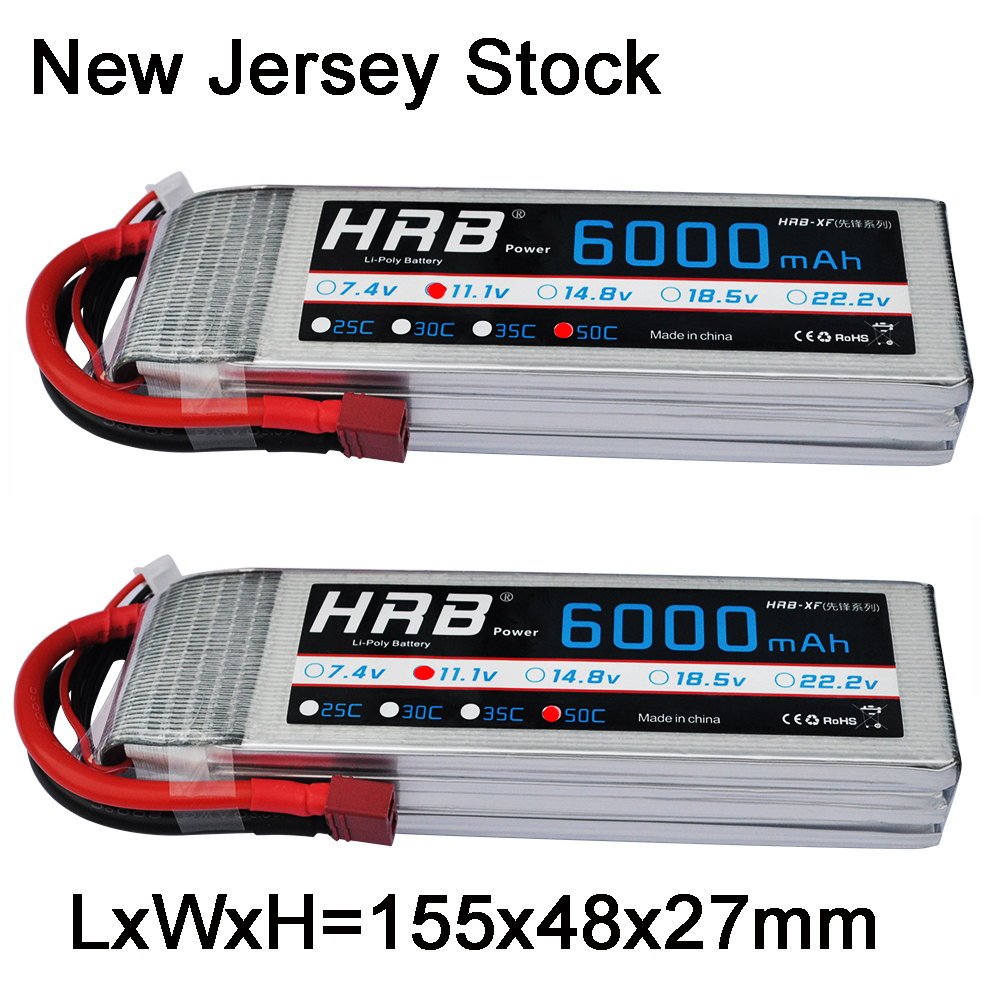 2pcs HRB RC Lipo Battery 3S 11 1V 6000mAh 50C 100C 3S RC Car Lipo For