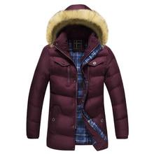 2017 Men Down Jacket Winter Warm Collar Fur Trim Hood Coat Outwear Puffer Down Cotton Long Jacket Clothes Thick Canada Cheap