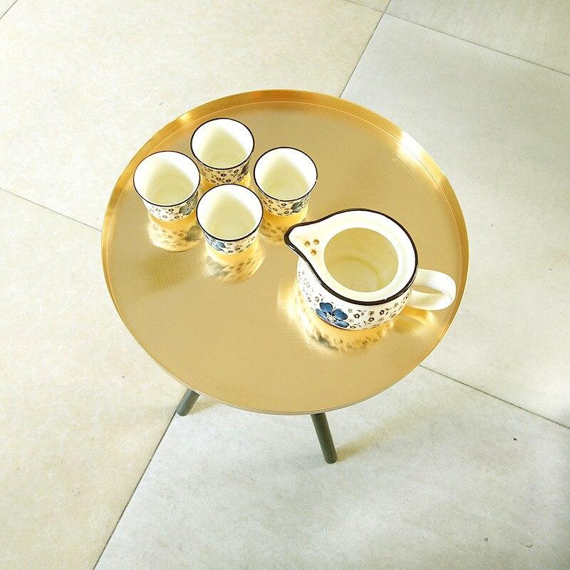 Goud ronde mini tafel bruiloft dessert grote taart bloemen centerpieces display tafel home hotel koffie thee tafel Bank Bijzettafel - 5