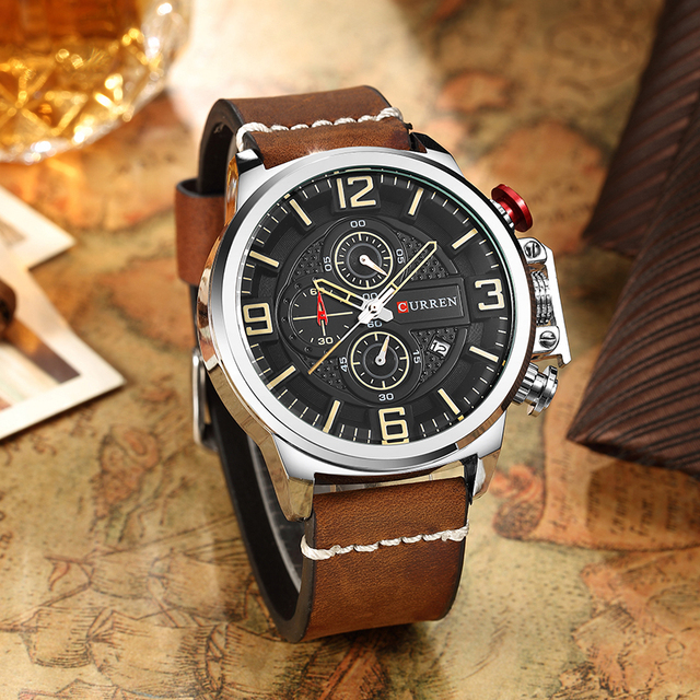 Neue herren Uhr CURREN Marke Luxus Mode Chronograph Quarz Sport Armbanduhr Hohe Qualität Lederband Datum Männlich Uhr