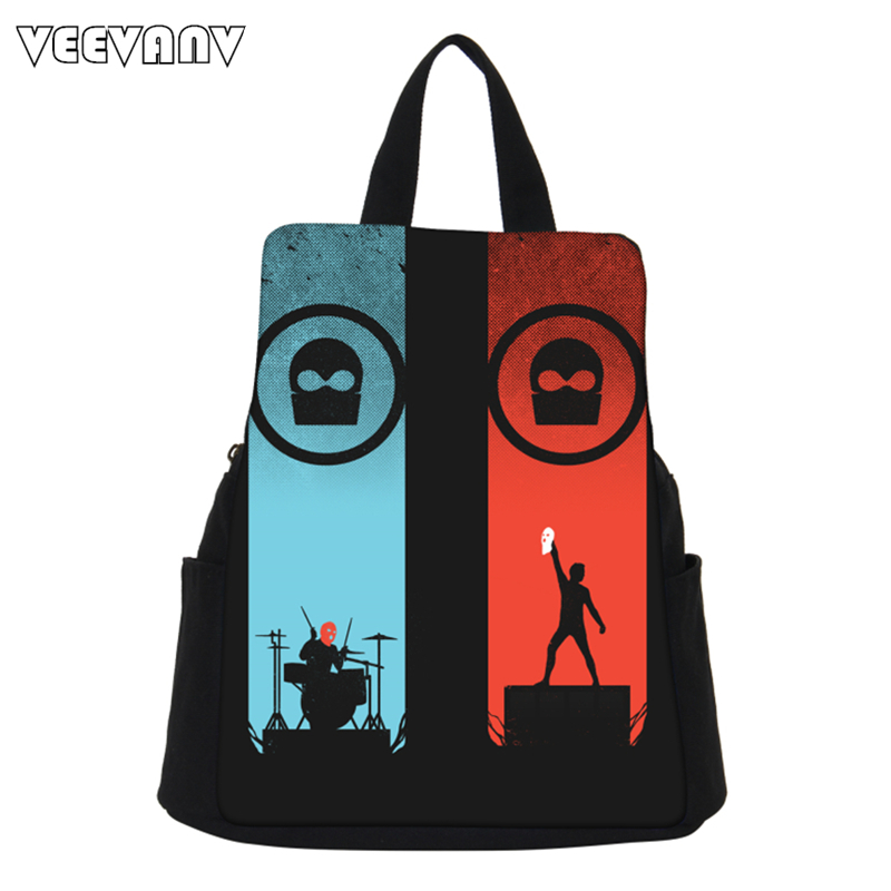 2017 VEEVANV Women Backpack Canvas Shoulder Bag Fashion Girls School Backpacks Female Twenty One Pilots Printing Backpack Casual
