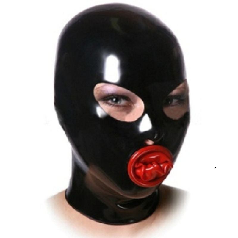 Latex Hood Deadpool Mask Rubber Mouth with Inner Red Condom Asphyxia Mask Zipper