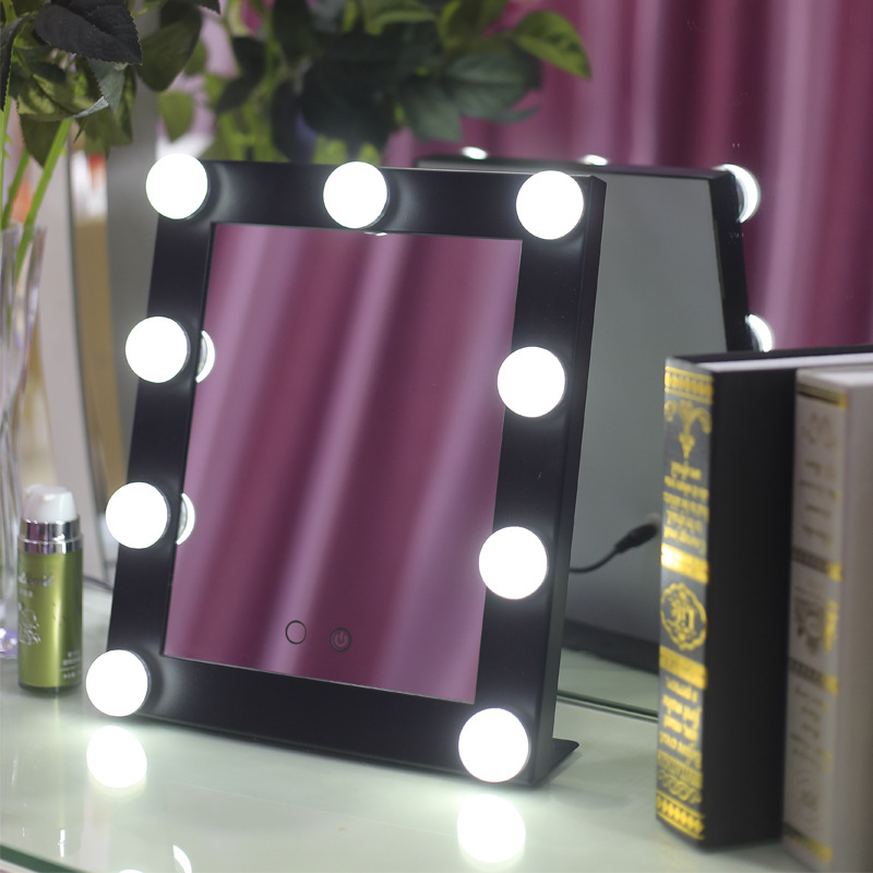 BEAUTMEI Makeup Mirror LED lights with 9 Bulbs Illuminated Desktop Table Stand espelho for lady beauty pocket mirror LED mirror