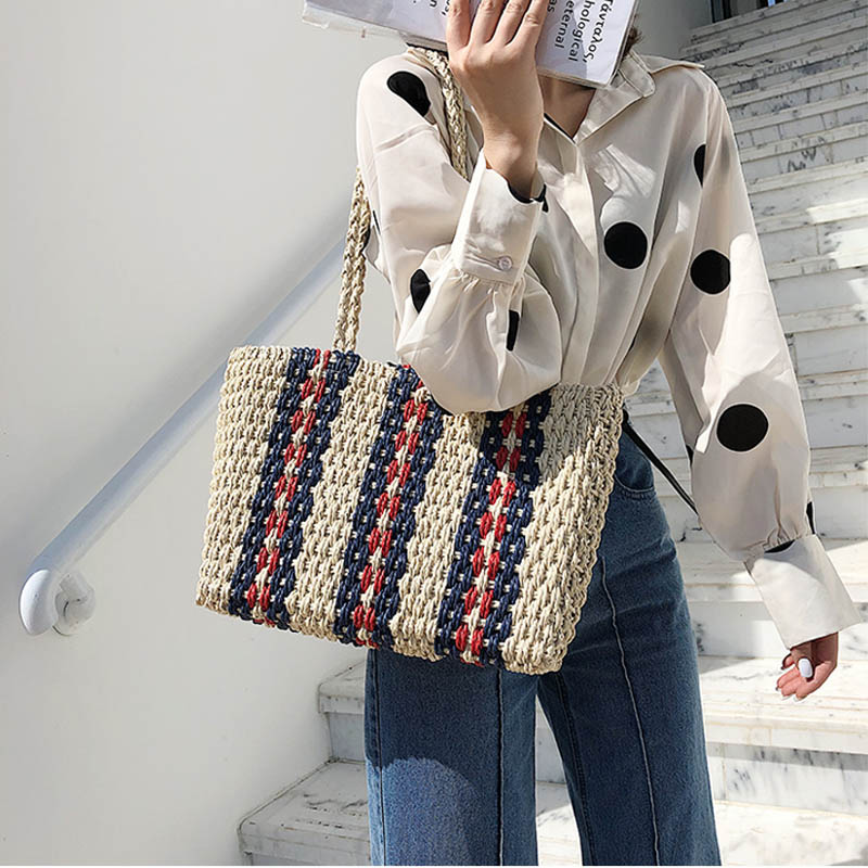 Fashion Striped Straw Bags Casual Rattan Large Women Totes Wicker Woven Female Handbags Shoulder Bags Summer Beach Travel Purses