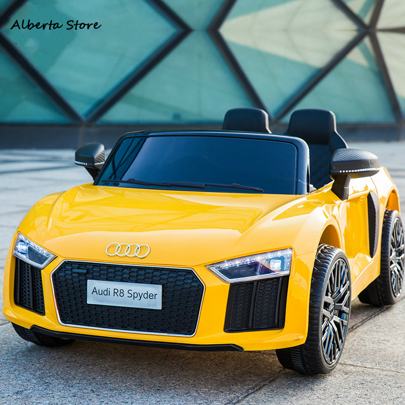 NEW R8 Outdoor Toys Children Electric Ride on Car Chargable Four-wheel Remote Control LED Can Sit Car Music Early Education Gift