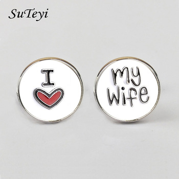 New Fashion Cufflink for men I Love My Wife Design Good Husband Cuff Link Men Shirt Charm Material Copper Cufflinks Wholesale image