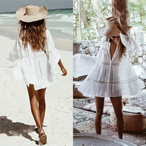 Summer Women Casual Beach White Cove Up HOT Women Summer Casual Long Sleeve Turn down Collar Loose Loose Cover Up Tops in Blouses amp Shirts from Women 39 s Clothing