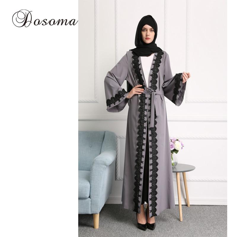 Muslim Women Lace Abaya Dress Robe Musulmane Ramadan Maxi Gown Arab ...