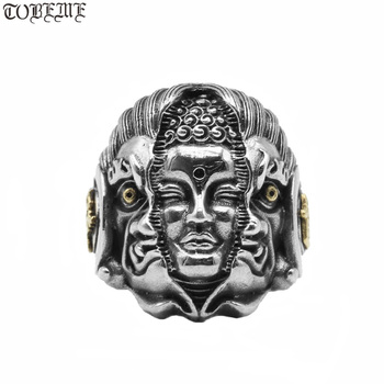 Thai 925 Silver Man Ring 100% Sterling Buddha PUNK Resizable
