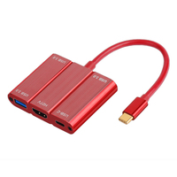 5 in 1 USB Type C Hub 3x USB 3.0 HDMI USB C PD Charger Port for MacBook Red USB Type C Splitter Box