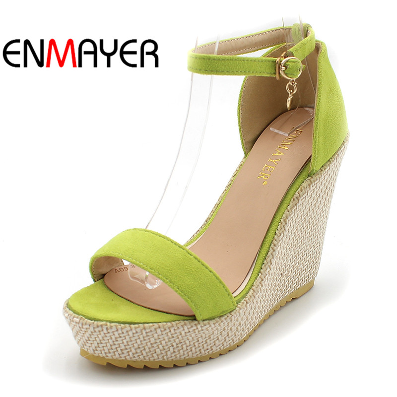 New 2016 Summer Party Womens Wedges Sandal Platforms Shoes Black Pink Green Big Size34 43 Fashion Flock Fashion High Sandals Hot