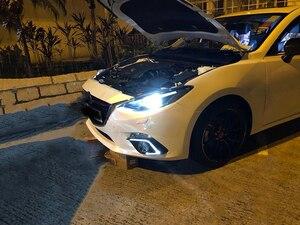Image 5 - Carro piscando 2 pçs drl para mazda 3 mazda3 axela 2014 2015 2016 led drl luzes diurnas com sinal de volta luz nevoeiro cobrir