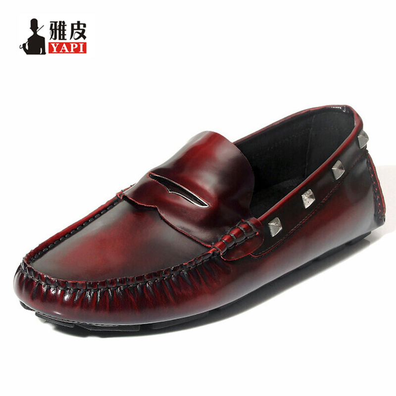 US6-10 Brand New Top Genuine Leather Slip On Lofers Mens Casual Shoes Fashion Rivet Driving Moccasins Boat Shoes