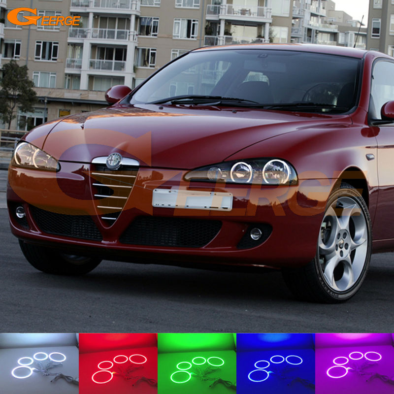 For Alfa Romeo 147 2005 2006 2007 2008 2009 2010 Excellent Angel Eyes kit Multi-Color Ultra bright RGB LED Angel Eyes Halo Rings 6x car snow tire anti skid chains for lexus rx nx gs ct200h gs300 rx350 rx300 for alfa romeo 159 147 156 166 gt mito accessories