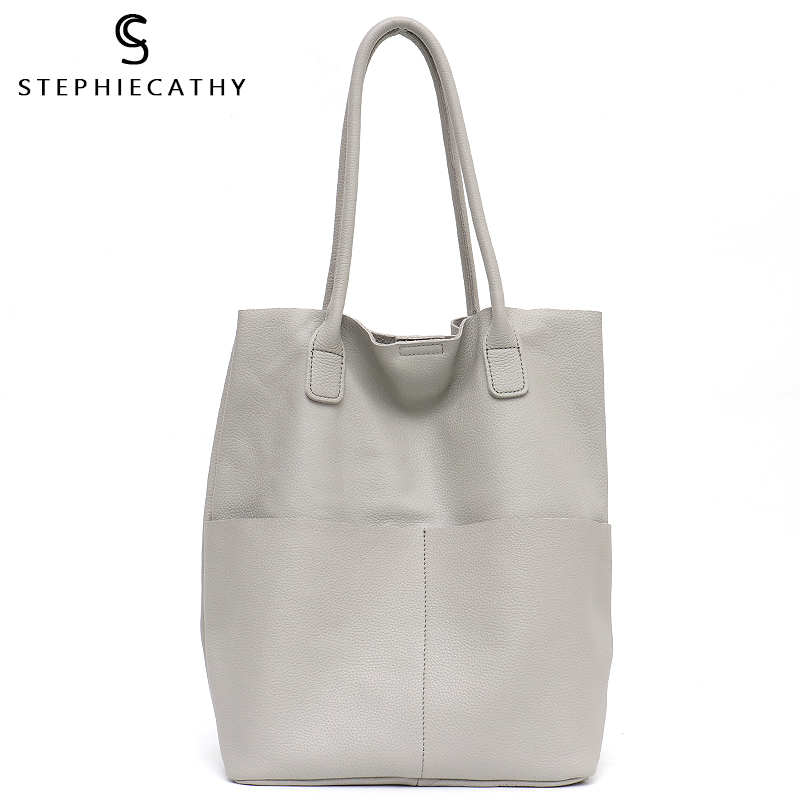 SC Brand Women Genuine Leather Shoulder Bags Causal Vintage Soft Cowhide Skin Handbag Shopping Bucket Liner Bag High Quality Рубашка